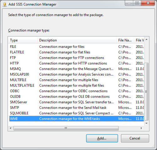 SSIS Package Disk Space With WMI 3