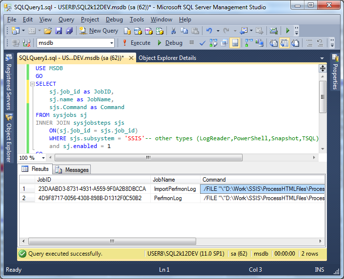 Script to get SSIS Jobs